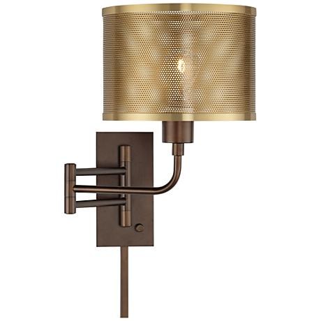 Wall Lamp With Usb : Vero Oil-Rubbed Bronze Plug-In Swing Arm Wall Lamp with USB - #9N313 www.lampsplus.com