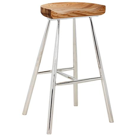 "Copley 30 1/2"" Medium Brown Wood and Polished Barstool"