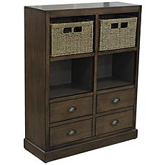 Currituck Driftwood 2-Basket 4-Drawer Storage Console