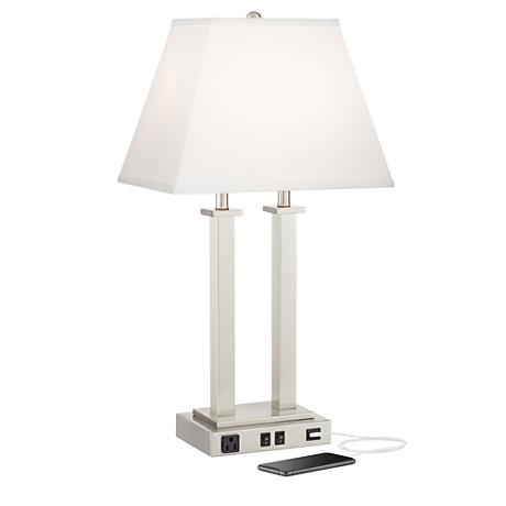 possini euro amity desk lamp with usb port and outlet 9g408 www. Black Bedroom Furniture Sets. Home Design Ideas