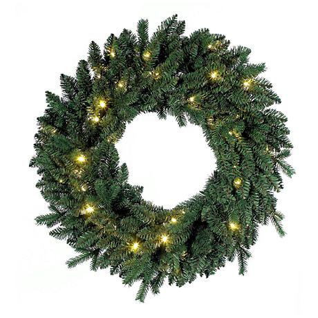 "Flourishing Green Pre-Lit 30"" Wide LED Wreath"