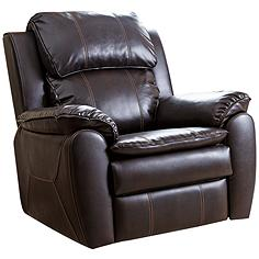 Harbor Dark Brown Bonded Leather Rocker Recliner Chair