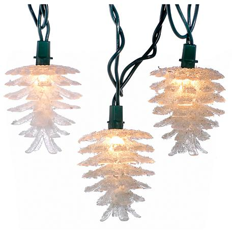 10-Light White Pinecone String Light Set