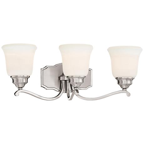 "Savannah Row 3-Light 22 3/4""W Brushed Nickel Bath Light"
