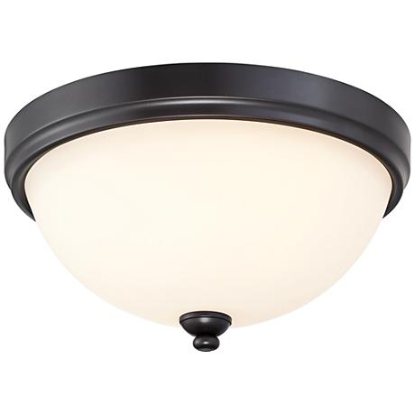 "Shadow Glen 15"" Wide Round Castle Bronze Ceiling Light"