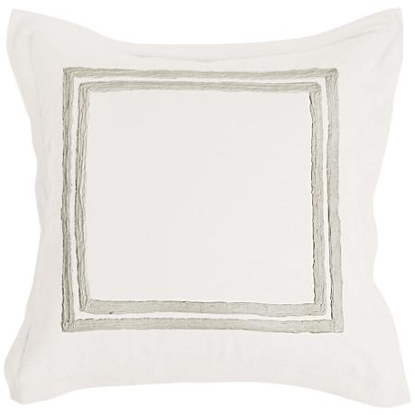 Patrina Ivory Hand-Embroidered Cotton Euro Pillow Sham
