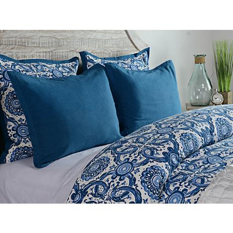Resort Marine Blue Printed King Pillow Sham