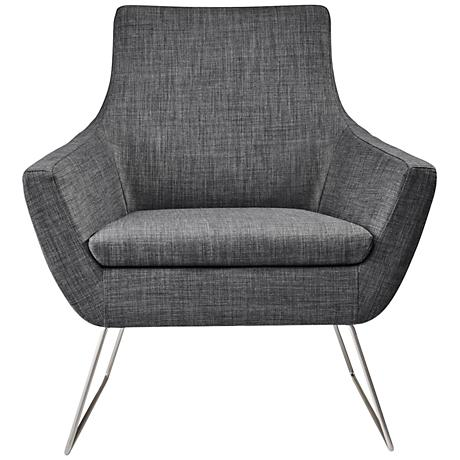 Kendrick Charcoal Gray Brushed Steel Armchair