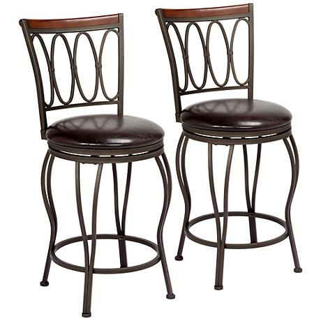 cyrus bronze 24 swivel counter stool set of 2 9h129. Black Bedroom Furniture Sets. Home Design Ideas