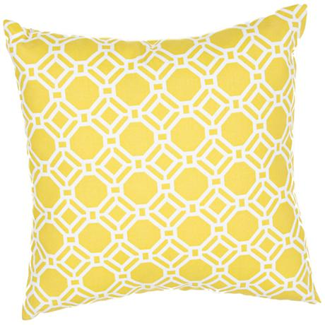 "Jaipur Veranda Trellis Yellow 20"" Wide Throw Pillow"