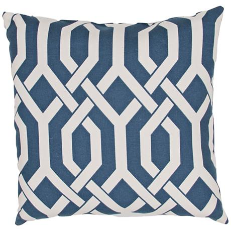 "Jaipur Veranda Link Blue 20"" Square Throw Pillow"