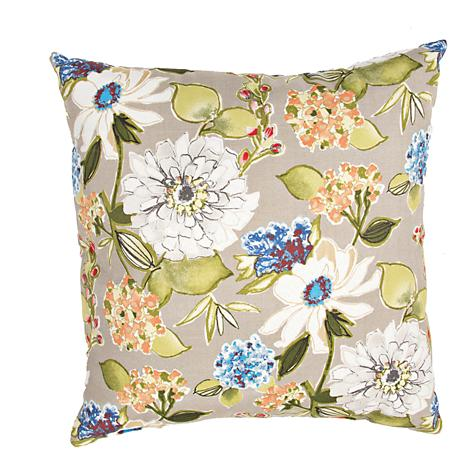 "Jaipur Veranda Taupe 20""W Multi-Color Floral Throw Pillow"