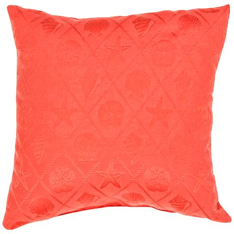 "Jaipur Veranda Seashell Poppy Red 18"" Square Throw Pillow"