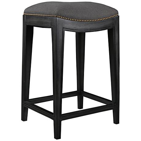 "Dinavia 26"" Charcoal Linen Dry Gray Wood Counter Stool"