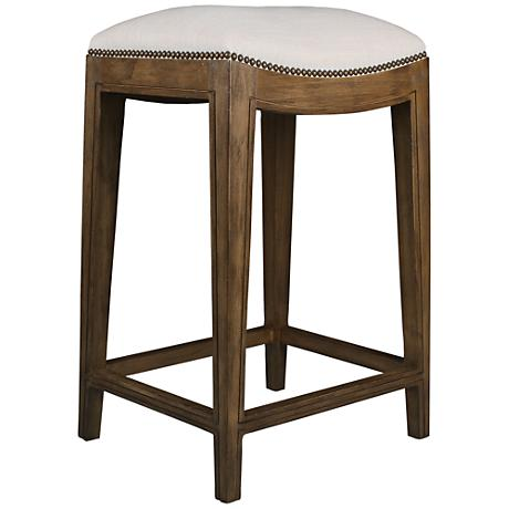 "Dinavia 30"" Sand Linen Dry Smoke Wood Bar Stool"