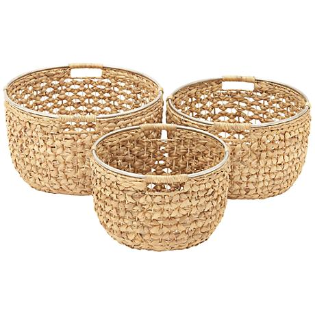 Seagrass Open-Weave Natural 3-Piece Round Basket Set