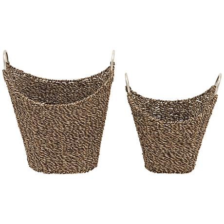 Flatsedge Seagrass Dark Brown Natural 2-Piece Basket Set