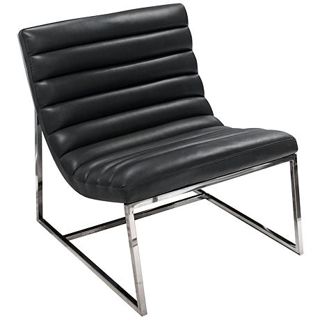 Bardot Black Bonded Leather Lounge Chair
