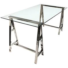 Deko Stainless Steel Desk with Clear Glass Top