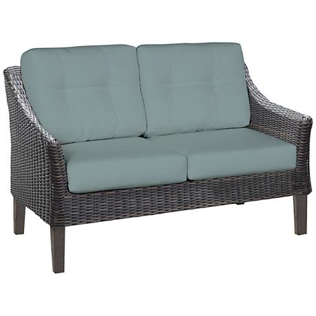 San Marino Brown Weave and Canvas Spa Outdoor Loveseat