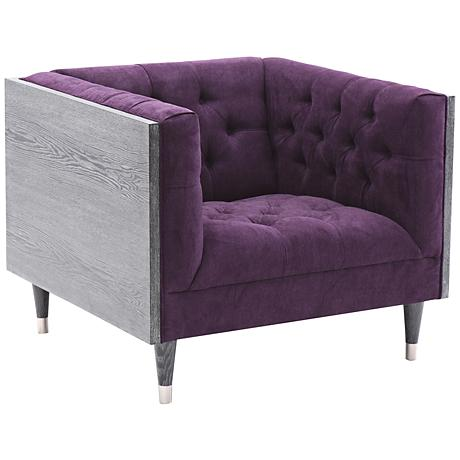Bellagio Tufted Purple Fabric Occasional Chair