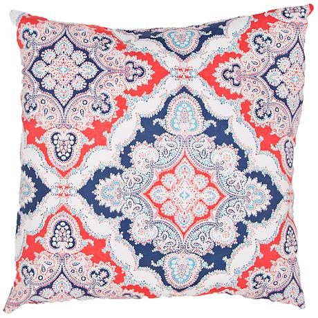 "Jaipur Veranda Tribal Tile Red and Blue 18""W Throw Pillow"