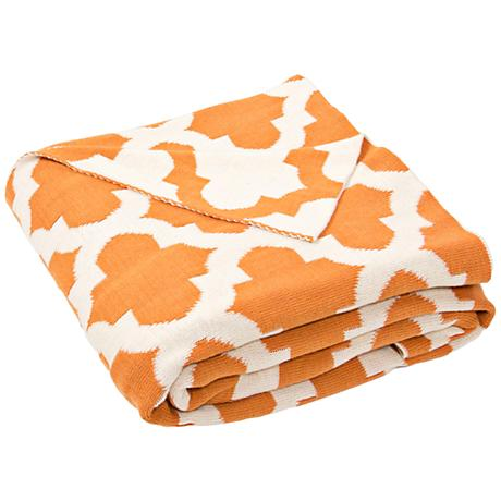 Jaipur Trinity Orange Quatrefoil Cotton Throw Blanket