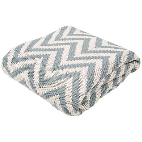 Jaipur Serin Chevron Light Blue Cotton Throw Blanket