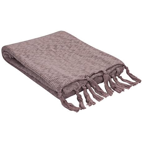Jaipur Gem Mauve Pink Cotton Fringe Throw Blanket