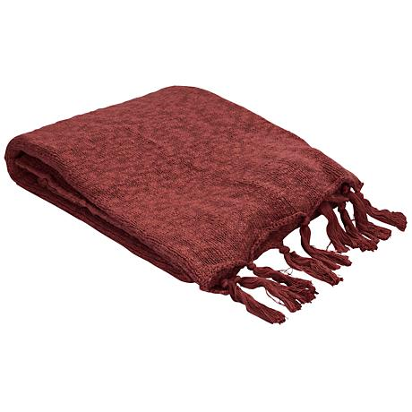 Jaipur Gem Marsala Red Cotton Fringe Throw Blanket