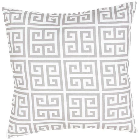 "Jaipur Veranda Greek Key Gray 18"" Square Outdoor Pillow"