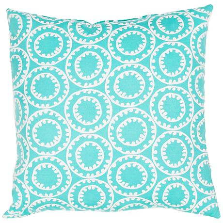 "Jaipur Veranda Circle Turquoise 18"" Square Outdoor Pillow"