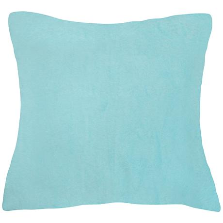 "Aqua Blue Bamboo Velvet 24"" Square Throw Pillow"