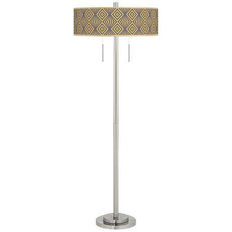Deco Revival Taft Giclee Brushed Nickel Floor Lamp