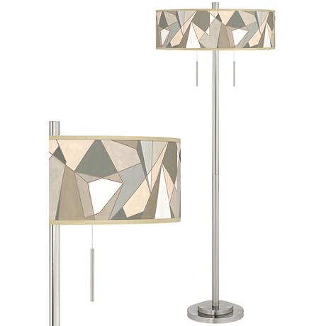 Modern Mosaic I Taft Giclee Brushed Nickel Floor Lamp