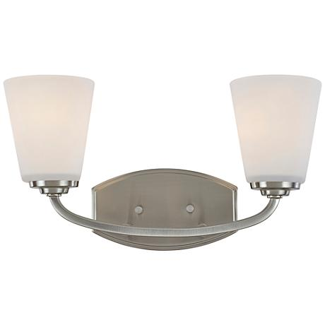 "Artcraft Hudson 8 1/2""H Brushed Nickel 2-Light Wall Sconce"