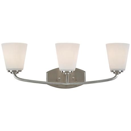 "Artcraft Hudson 23 3/4""W Brushed Nickel 3-Light Bath Light"