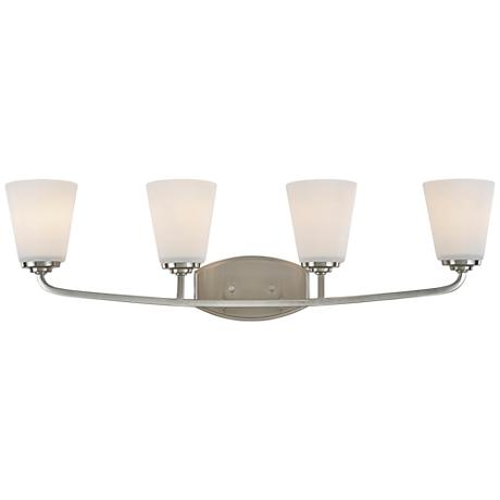 "Artcraft Hudson 31 1/4""W Brushed Nickel 4-Light Bath Light"