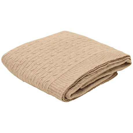 Sand Angora Blend Knitted Cable Throw Blanket
