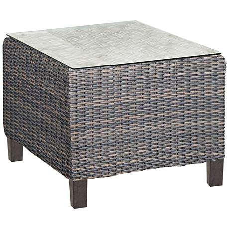 San Marino Tempered Glass Top Brown Square Outdoor End Table