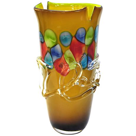 "Tahoe Open Multi-Color Amber 14"" High Art Glass Vase"
