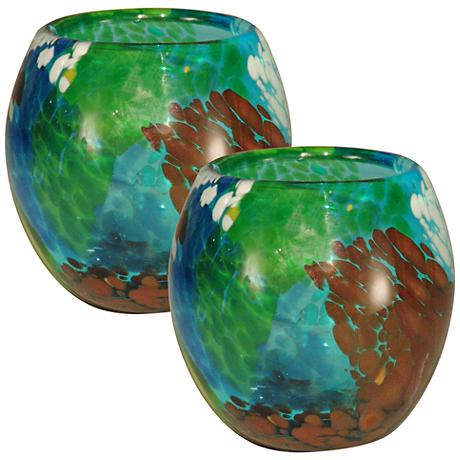 Pacifica Multi-Color 2-Piece Votive Candle Holders Set