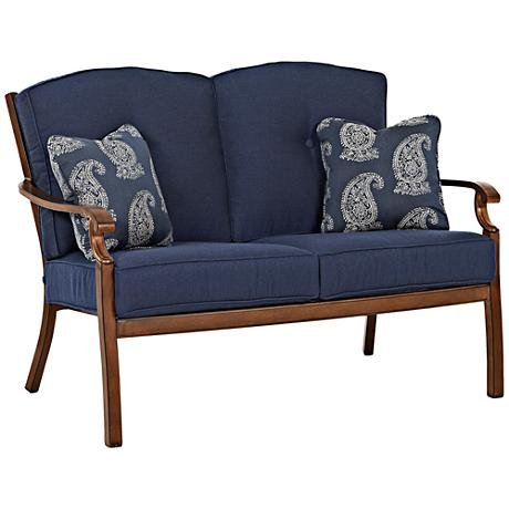 Trisha Yearwood Denim Fabric Coffee Outdoor Loveseat