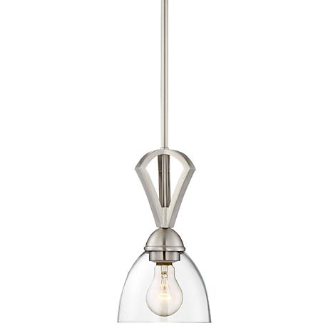 "Milbury 6""W Brushed Nickel and Clear Glass Mini Pendant"