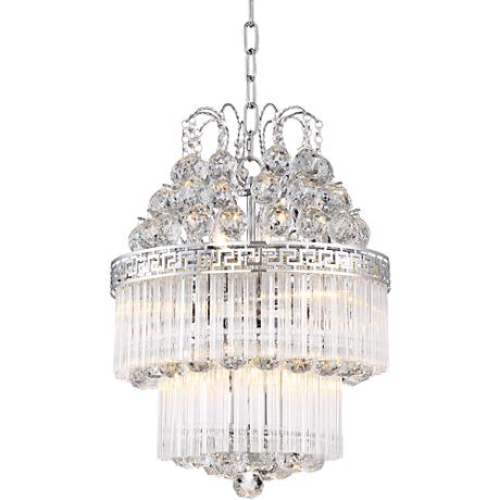 "Belva Brushed Nickel 15"" Wide Clear Crystal Chandelier"