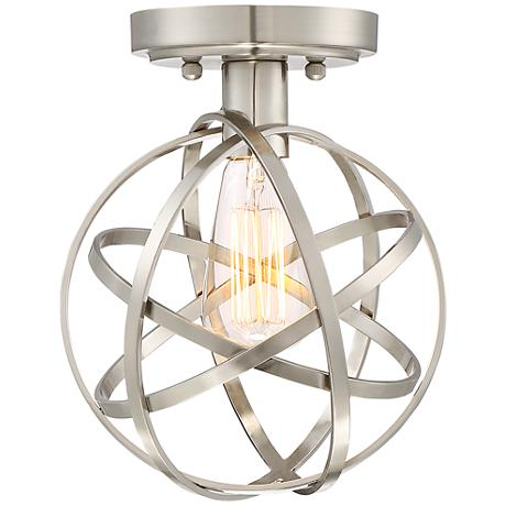 "Industrial Atom 8"" Wide Edison Brushed Nickel Ceiling Light"
