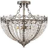 "Gayle Antique Nickel 16 1/2"" Wide Crystal Ceiling Light"