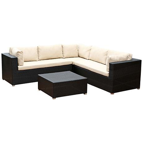 Sanibel Black Wicker 4-Piece Outdoor Corner Sectional Set