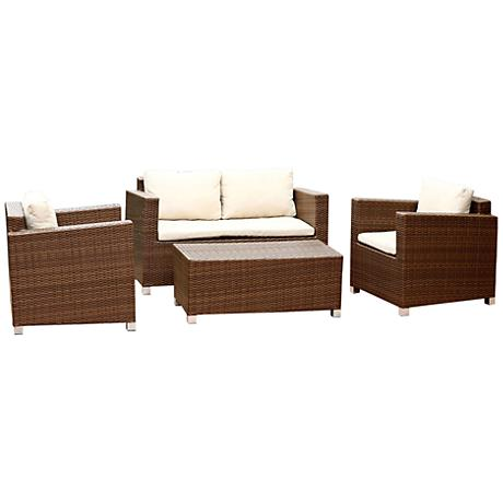 Anderson Brown Wicker 4-Piece Outdoor Conversation Set