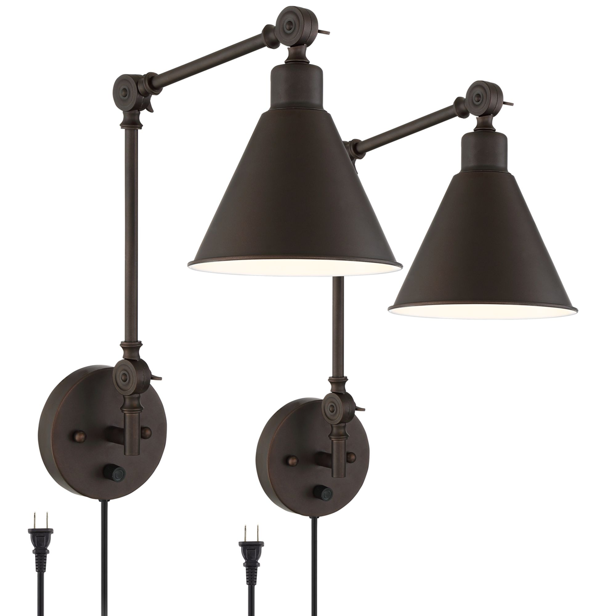 Wray Bronze Metal Plug In Wall Lamp Set Of 2